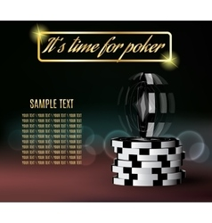 Poker chips with a twisting chip on blurred vector