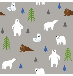 Polar animals on a gray background Seamless vector image