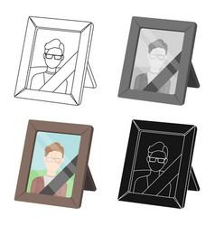 Portrait of deceased person icon in cartoon style vector