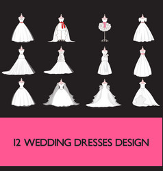 Premium wedding dress set vector
