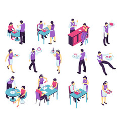 restaurant waiter isometric collection vector image