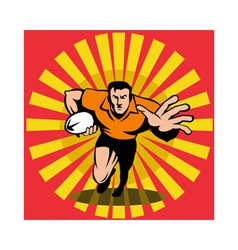 Rugby player running fending attacking with the vector