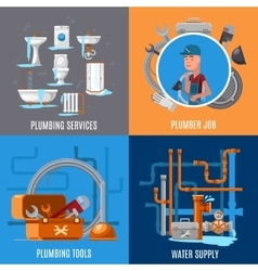 Sanitary fix and plumbing concept vector