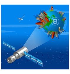 Satellite focusing On Earth vector