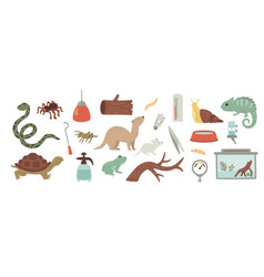 Set exotic pets care vector