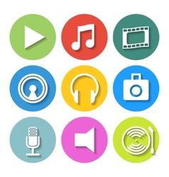 set flat media icons vector image