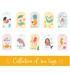 set gift tags and labels with cute sea animals vector image