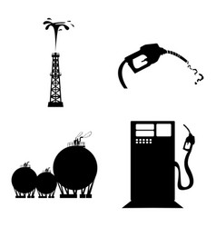 set of oil related objects vector image