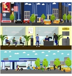 set of taxi service company concept banners vector image