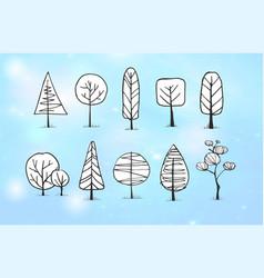 Set winter doodle sketch trees on blue vector