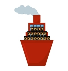 Ship boat with barrels oil vector