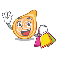 Shopping snacks coxinha on a character plates vector