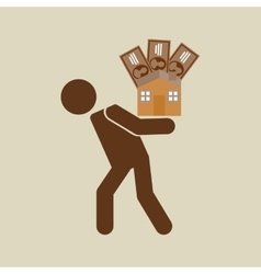 Silhouette man financial crisis house money vector