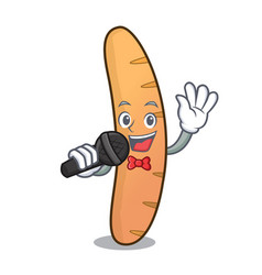 Singing baguette mascot cartoon style vector