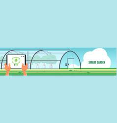 smart garden banner growing fruits and vegetables vector image