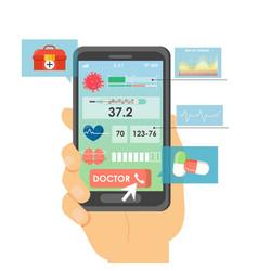 smartphone medical testing app flat vector image