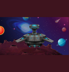 Space ship on alien planet vector