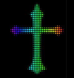 Spectrum dot christian cross icon vector