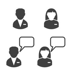 Staff icon man and woman chat with a man and a vector