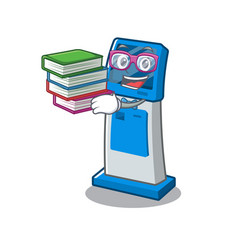 Student with book digital information cartoon vector