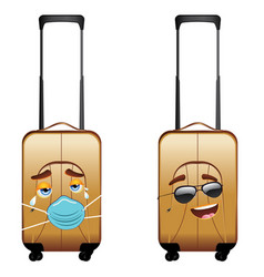 Suitcase cry in facemask and happy in sunglasses vector