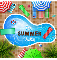 swimming pool top view palm treesmattress vector image