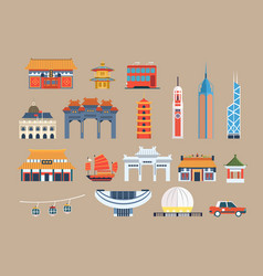Symbols of hong kong sett chineset landmarks vector