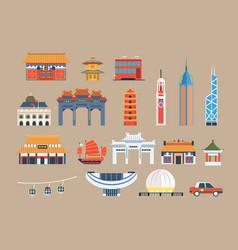 symbols of hong kong sett chineset landmarks vector image