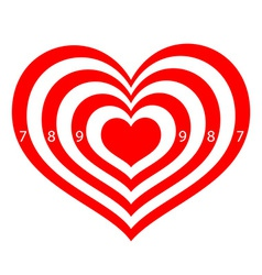 target in the form of red hearts vector image