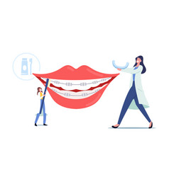 Tiny dentist doctors characters install dental vector