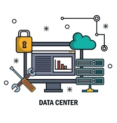 tools data server screen pc isolated vector image
