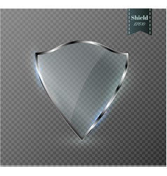 Transparent shield safety glass badge icon vector