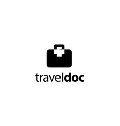 travel bag with plus sign logo design concept vector image