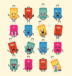 Travel luggage character emoji set vector