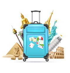 travelling tourism poster design on earth vector image