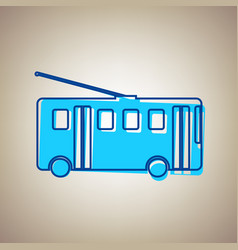 Trolleybus sign sky blue icon with vector