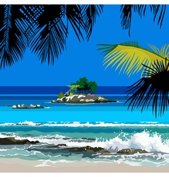 tropical coast and the island in the ocean vector image