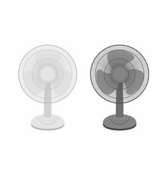 Two table fans black and white vector