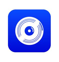 vinyl record icon blue vector image