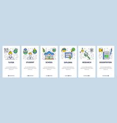 Web site onboarding screens school education vector