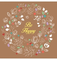 White floral heart with text Be happy vector image vector image