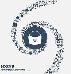 Woman hand bag icon in the center Around the many vector