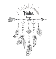 Boho Style with Ethnic Arrows and Feathers vector image vector image