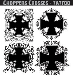 Choppers crosses tattoo vector image vector image