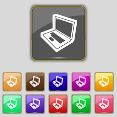 Laptop icon sign Set with eleven colored buttons vector image vector image