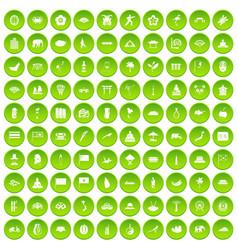 100 asian icons set green circle vector