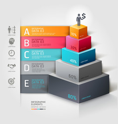 3d business staircase diagram infographics vector image vector image