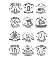 building and construction work tools icons vector image vector image