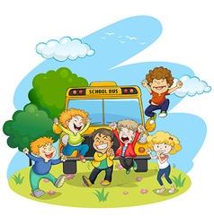 Children riding school bus vector image vector image
