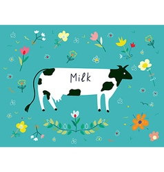 Cow and flowes for the milk label design vector image vector image